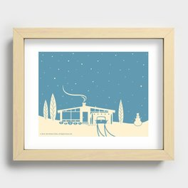 Mid-Century Snowscape in Blue Recessed Framed Print