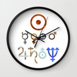 Planetary Symbols II Wall Clock