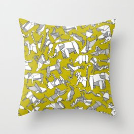origami animal ditsy chartreuse Throw Pillow