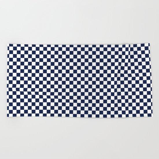 Indigo Navy Blue Checks Beach Towel