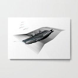 Paperplane Carrier White Metal Print