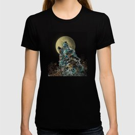 floral animals howling wolf T-shirt