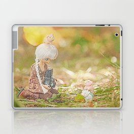 doll taking photo of cute pig and cow erasers  Laptop & iPad Skin
