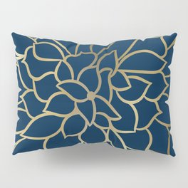 Floral Prints, Line Art, Navy Blue and Gold Pillow Sham
