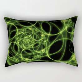 Dancing Green Light, Abstract Fractal Art Rectangular Pillow