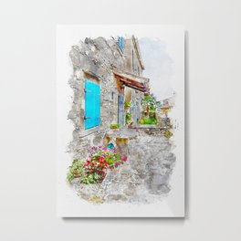 Aquarelle sketch art. Town cobbled street view, region of Istria, Croatia Metal Print