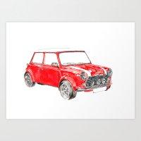 mini cooper Art Prints featuring Red Mini Cooper by Meg Ashford