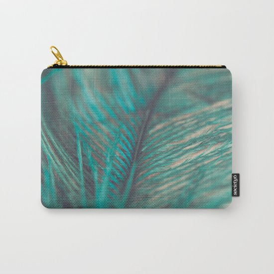 Turquoise Feather Close Up Carry-All Pouch