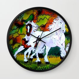 Galloping horses of the wild Wall Clock