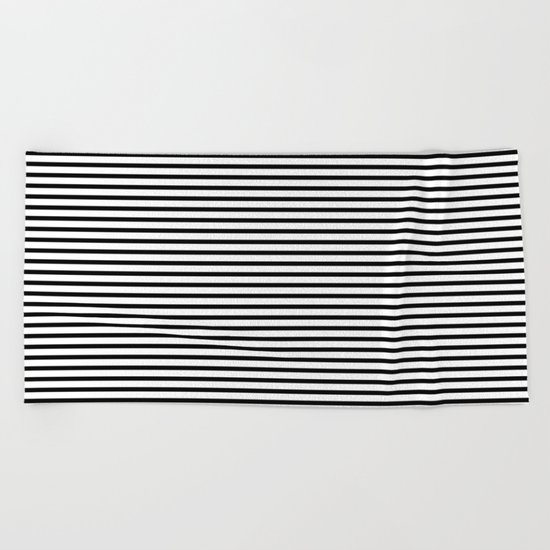 White Black Stripe Minimalist Beach Towel