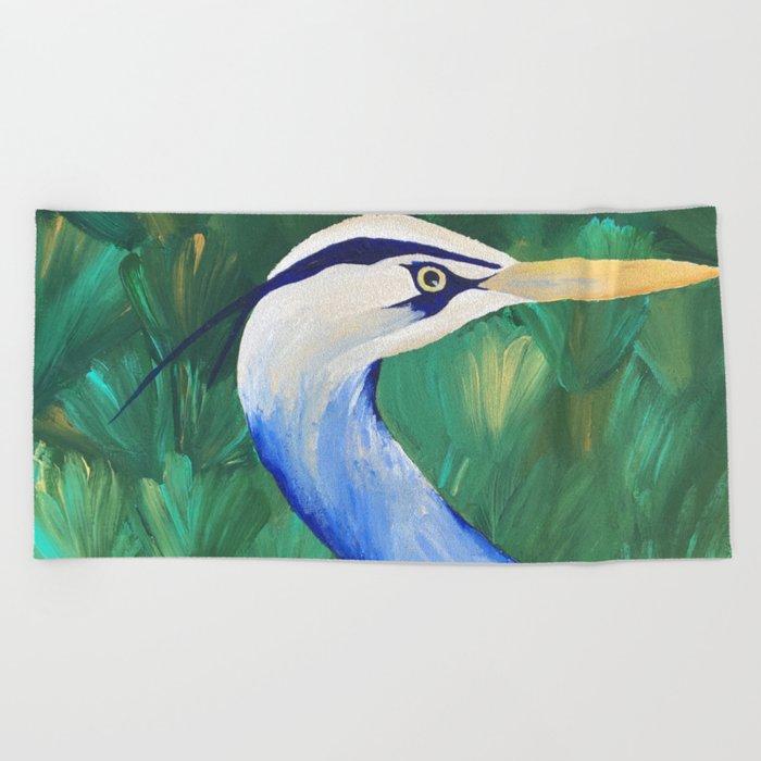 Heron in the Grass Beach Towel