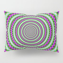 Green and Pink Pulsing Rings Pillow Sham
