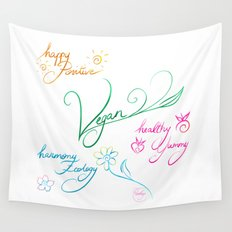 Vegan & happy lifestyle Wall Tapestry