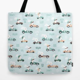 Bunny Race - retro racing pattern Tote Bag