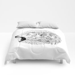GREY SCREAMING WOLF Comforters