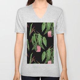 Polka Dot Begonia Potted Plants in Black Unisex V-Neck