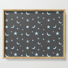 Grey background with blue moon and star pattern Serving Tray