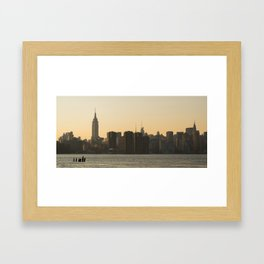 NYC at sunset Framed Art Print