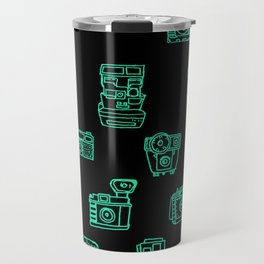 Cameras: Teal - pop art illustration Travel Mug