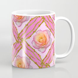 CREAMY  ROSES & RAMBLING THORNY CANES ON  PINK  DIAGONAL PATTERNS Coffee Mug