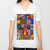 mosaic V-neck T-shirts featuring mosaic by donphil