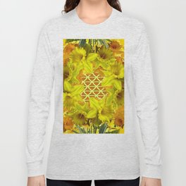 GOLDEN YELLOW SPRING DAFFODILS PATTERN GARDEN Long Sleeve T-shirt