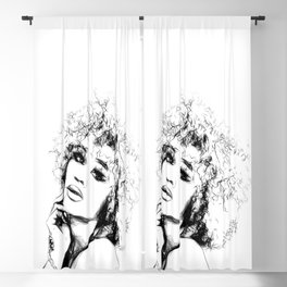 Black Woman Portrait Minimal Drawing Blackout Curtain