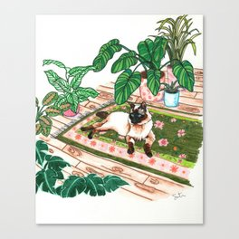 Lounging Siamese and Philodendrons Canvas Print