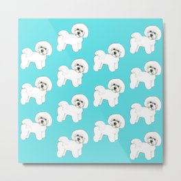 Bichon Frise on aqua / teal / cute dogs/ dog lovers gift Metal Print