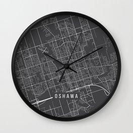Oshawa Map, Canada - Gray Wall Clock