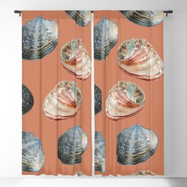 seashell clams Coral Background Blackout Curtain