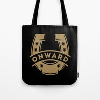 onward Tote Bags featuring Onward Horseshoe by Mortar Made