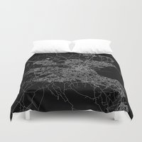 dublin Duvet Covers featuring Dublin map by Line Line Lines