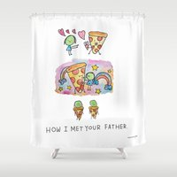 how i met your mother Shower Curtains featuring How I Met Your Father by mariorigami