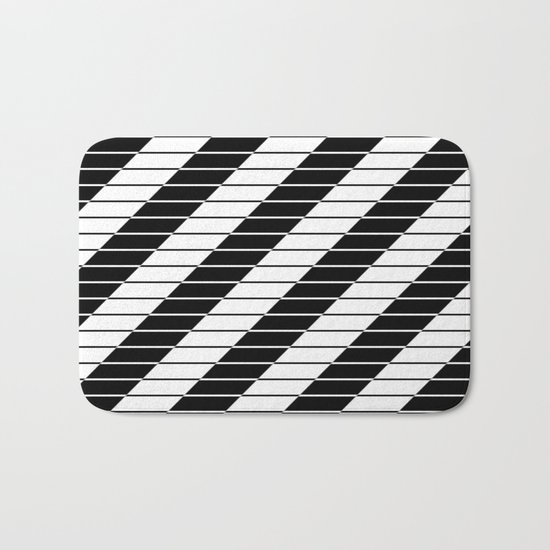Simply Black And White (Abstract, geometric design) Bath Mat