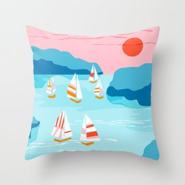 Tight - memphis throwback retro vintage classic sport boating yachting sailboat harbor sea ocean art Throw Pillow