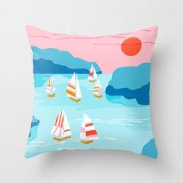 Tight - memphis throwback retro vintage classic sport boating yachting sailboat harbor sea ocean art Throw Pillow