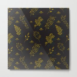 Thin delicate lines silhouettes of different plants. Metal Print