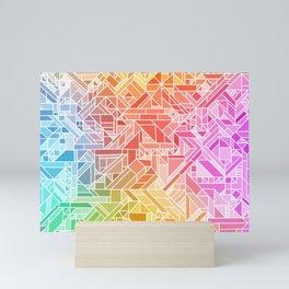 BRIGHT VIBRANT GRADIENT GEOMETRIC SHAPES RAINBOW PRINT TILED MOSAIC TIE DYE COLORFUL Mini Art Print