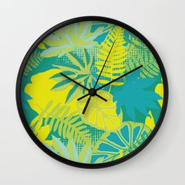 Neon Palm Leaves Tropical Jungle / Green Lime and Yellow Wall Clock