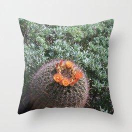 Barrel Cactus #2, Yellow Flowers Throw Pillow
