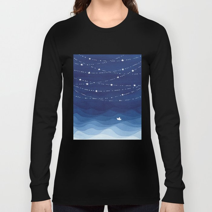 Garland of Stars IV, night sky Long Sleeve T-shirt
