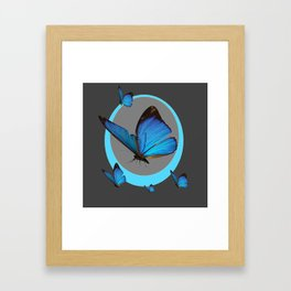 NEON BLUE BUTTERFLIES  & CHARCOAL GREY PATTERN Framed Art Print