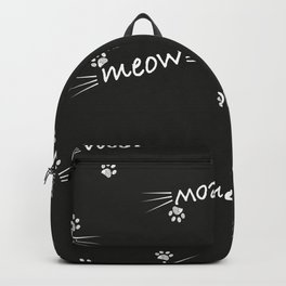 Meow text with doodle cat paw prints black background Backpack