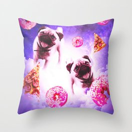 Pugs In The Clouds With Doughnut And Pizza Throw Pillow