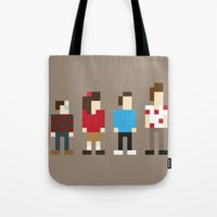 seinfeld Tote Bags featuring Pixel Seinfeld by Vectorific Design