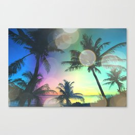Summer Dreams : Pastel Palm Trees Canvas Print