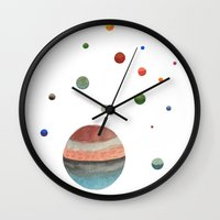 planets Wall Clocks featuring Planets by Ellen Beall Dubreuil