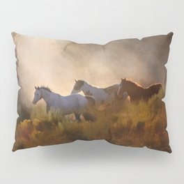 Horses in a Golden Meadow by Georgia M Baker Pillow Sham