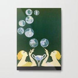 """Art Deco Design """"Bubbles"""" by Erté Metal Print"""